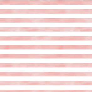 Watercolor Stripe in Blush Coral Pink and White