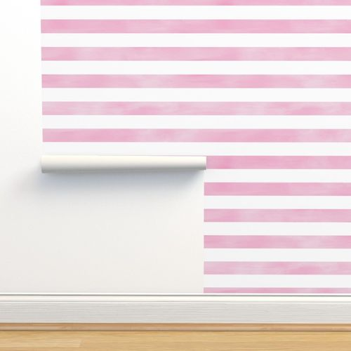 Wallpaper Watercolor Stripe In Rose Pink And White