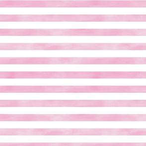 Watercolor Stripe in Rose Pink and White