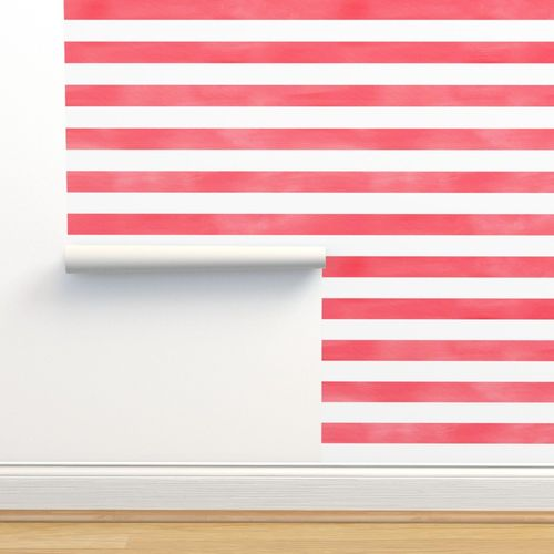 Wallpaper Watercolor Stripe In Red And White