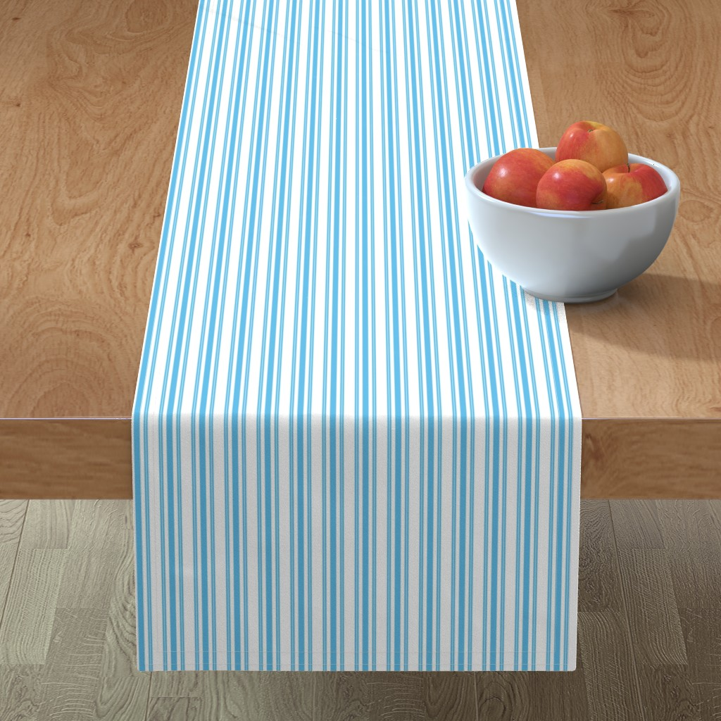 Minorca Table Runner featuring Trendy Large Blue Sky Pastel Blue French Mattress Ticking Double Stripes by paper_and_frill