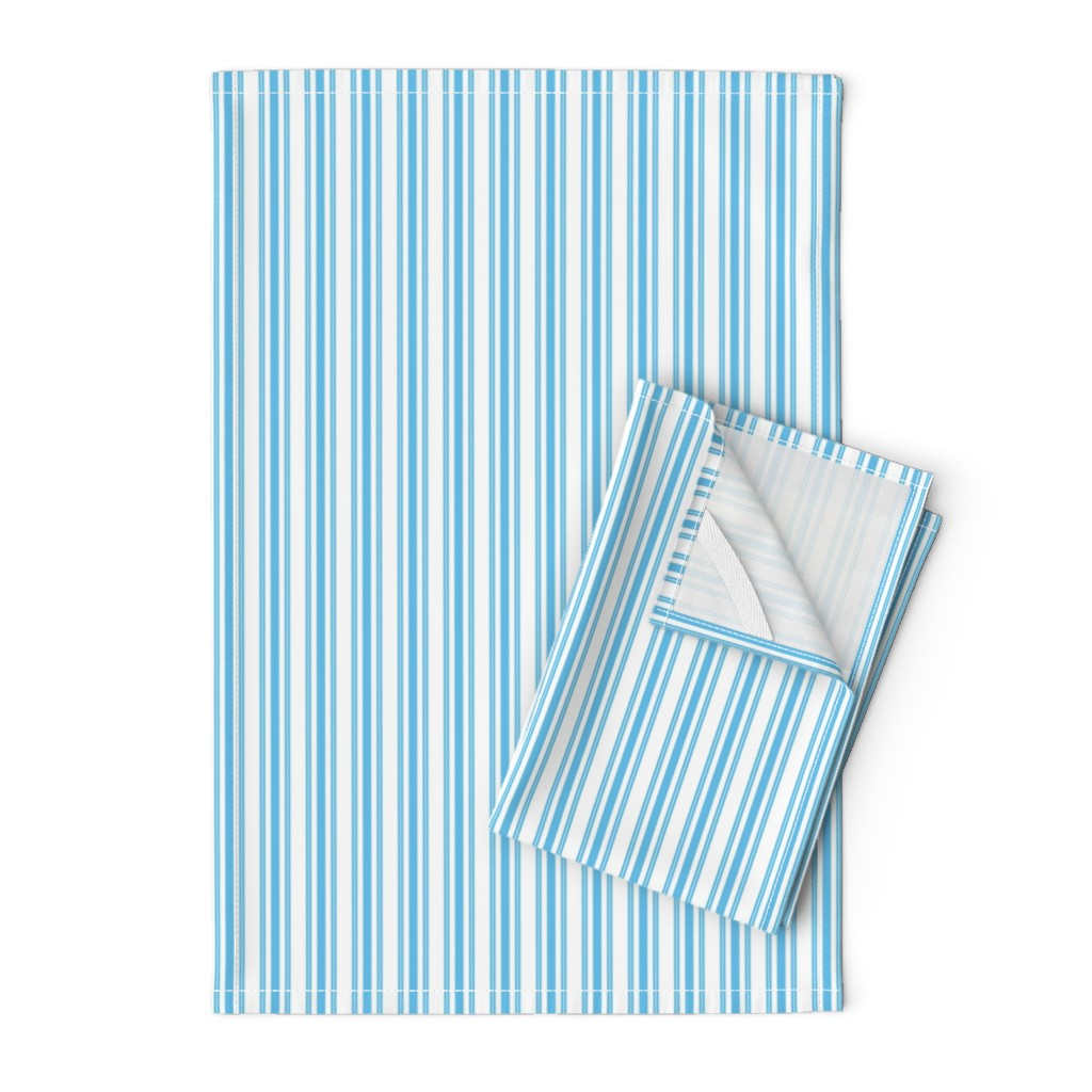 Orpington Tea Towels featuring Trendy Large Blue Sky Pastel Blue French Mattress Ticking Double Stripes by paper_and_frill