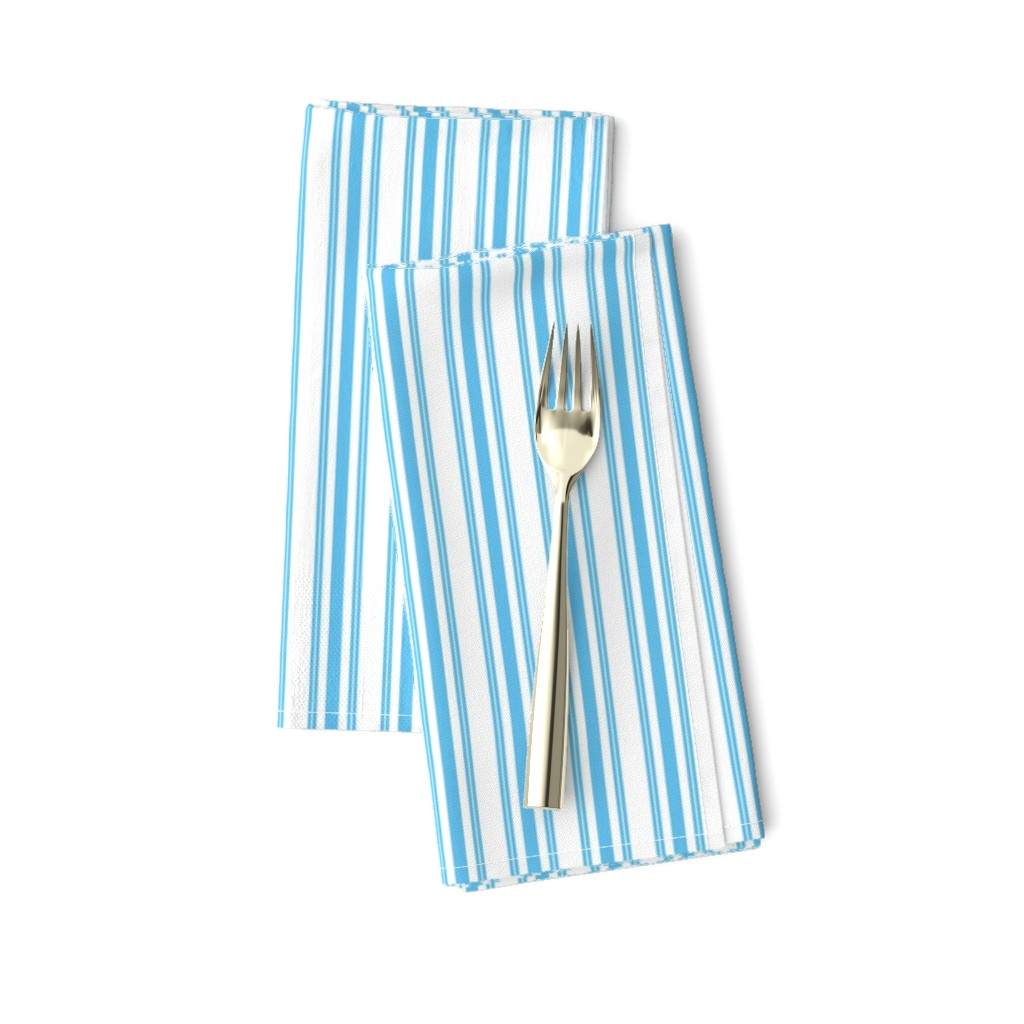Amarela Dinner Napkins featuring Trendy Large Blue Sky Pastel Blue French Mattress Ticking Double Stripes by paper_and_frill