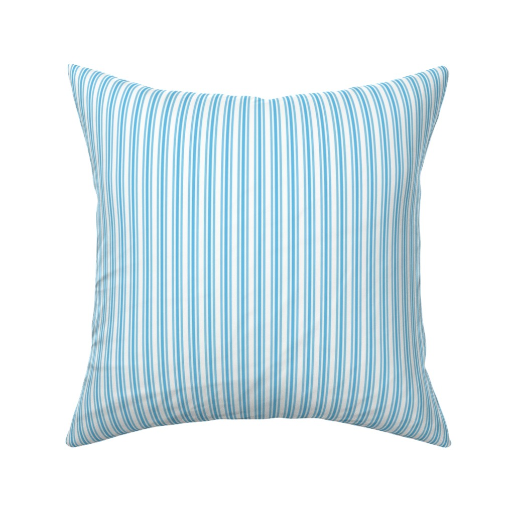 Catalan Throw Pillow featuring Classic Small Blue Sky Pastel Blue French Mattress Ticking Double Stripes by paper_and_frill