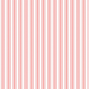 Trendy Large Coral Rose Pastel Coral French Mattress Ticking Double Stripes