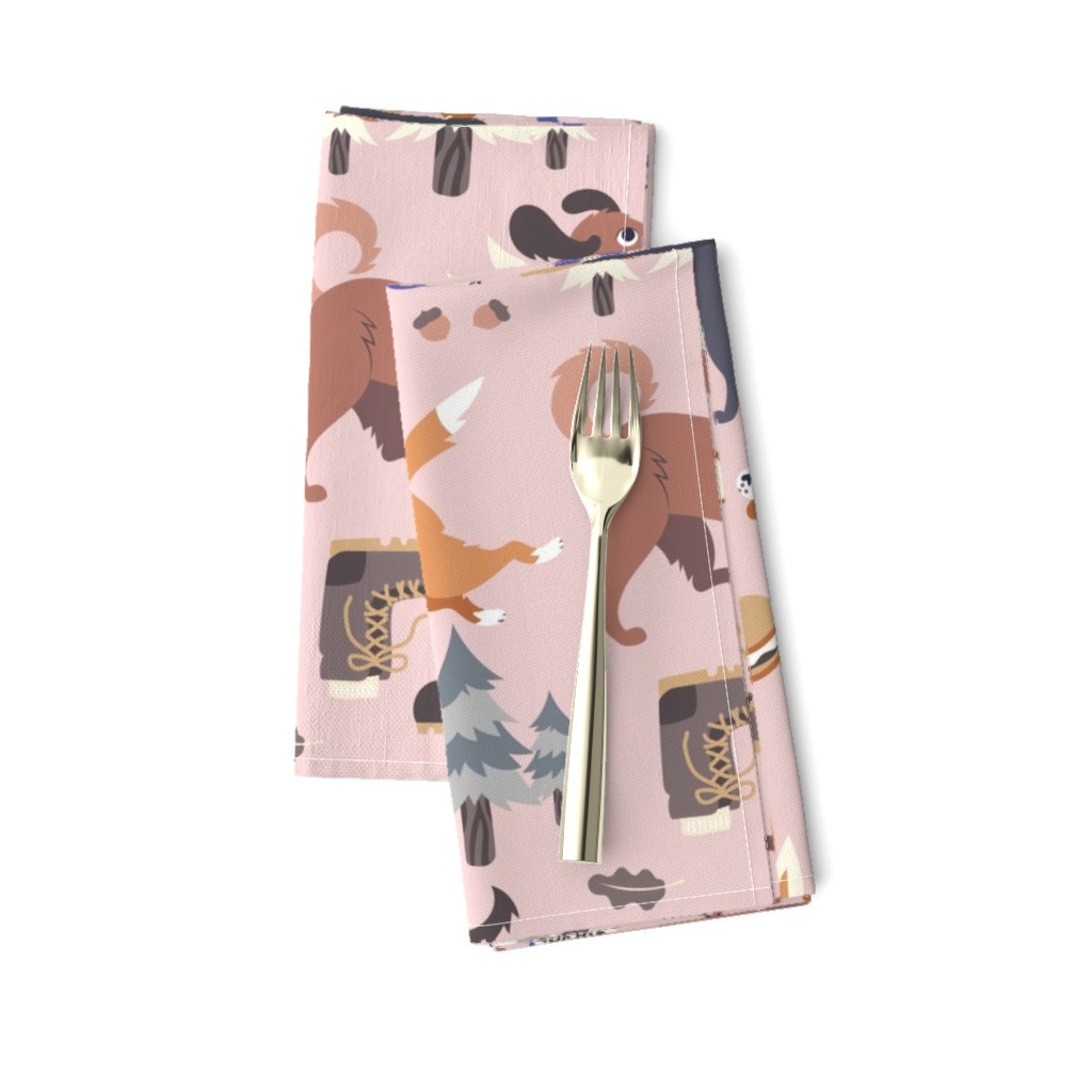Amarela Dinner Napkins featuring Pupper Campers in Pink by pinkowlet