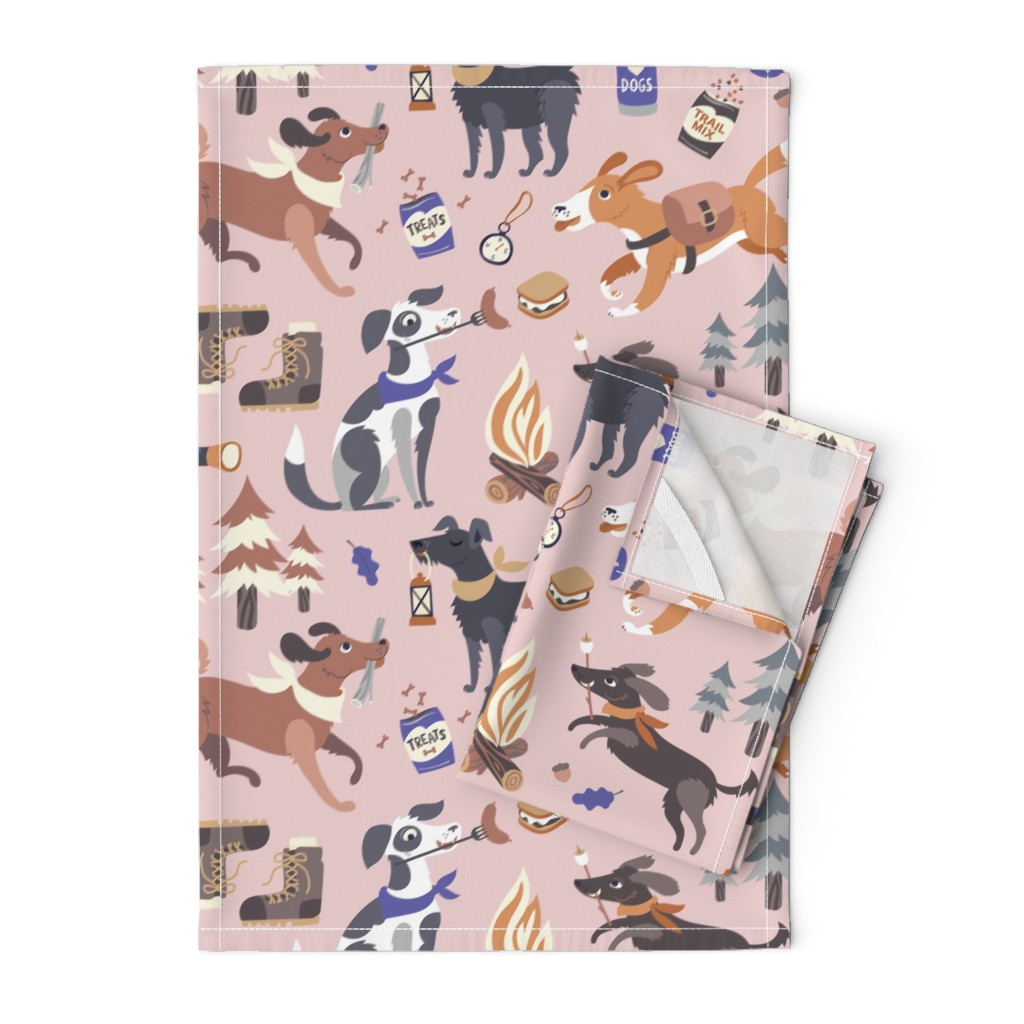 Orpington Tea Towels featuring Pupper Campers in Pink by pinkowlet