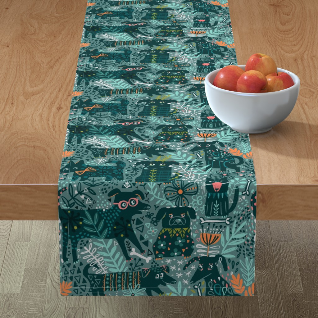 Minorca Table Runner featuring Find a cat by kostolom3000