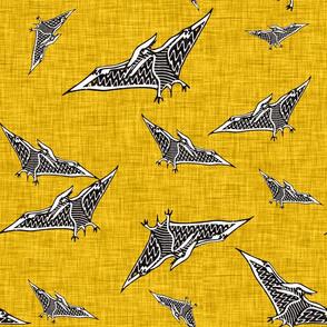 pterosaur flying dinosaur  yellow