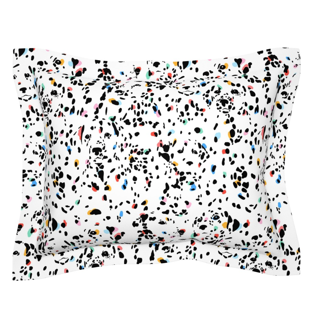 Sebright Pillow Sham featuring Dalmatians Spotted Large (Mono and Color) by michelleaitchison