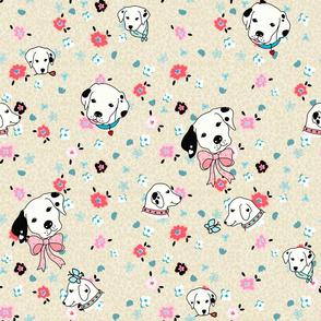 dalmatian flower -tan