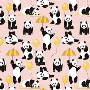 Panda Play on Light Pink