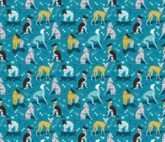 Small scale // Greyhounds dogwalk // turquoise background