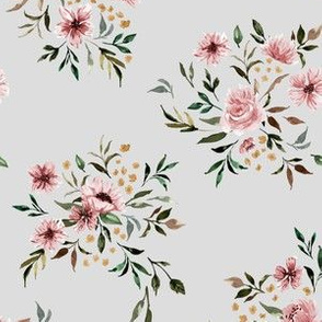 Emila Watercolor Floral V2 - Light Gray