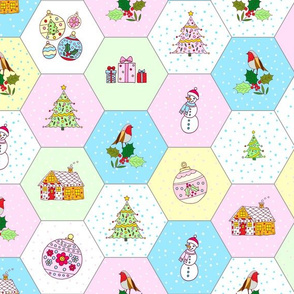 Festive Christmas hexies with seam allowance