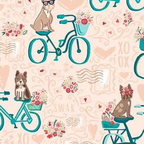Special Delivery Dogs // Snail Mail Love Letter Post Office Puppies // Valetine's Day Canine Crush Postmark // Swirling Letters, Bikes, Dogs with Glasses, Florals, SWAK, Stamps, Postcards, Cards, Lips, Flowers, Sunnies, Hearts