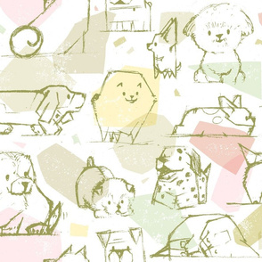 Hand Drawn Pups M+M Olive by Friztin