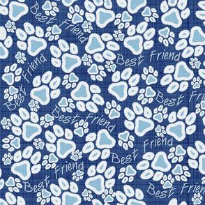 Paw Print blue white