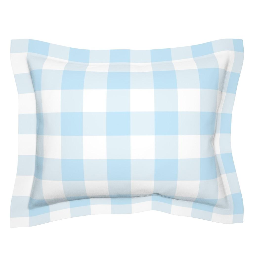 Sebright Pillow Sham featuring light blue buffalo check by aacraven85