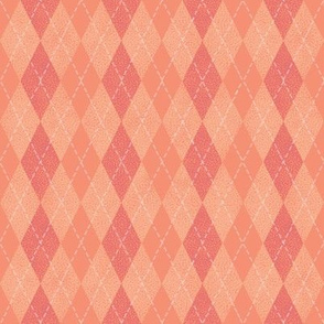 argyle peach, pink and coral