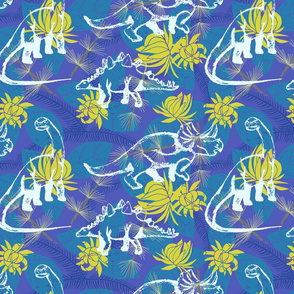 Hawaiian Dinos- blue/yellow