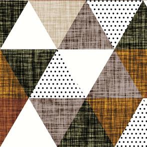 cinnamon + mocha linen triangle wholecloth // mocha, cedar, 13-2, 12-16, 19-16, olive green, cinnamon