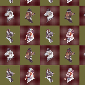 "8""  English Gentlemen Dog- Dogs with Hats and Glasses Animals Patchwork - baby girls quilt cheater quilt fabric - winter animals pet fabric, baby fabric, cheater quilt fabric"