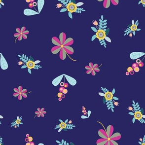 Ditsy flowers on dark blue