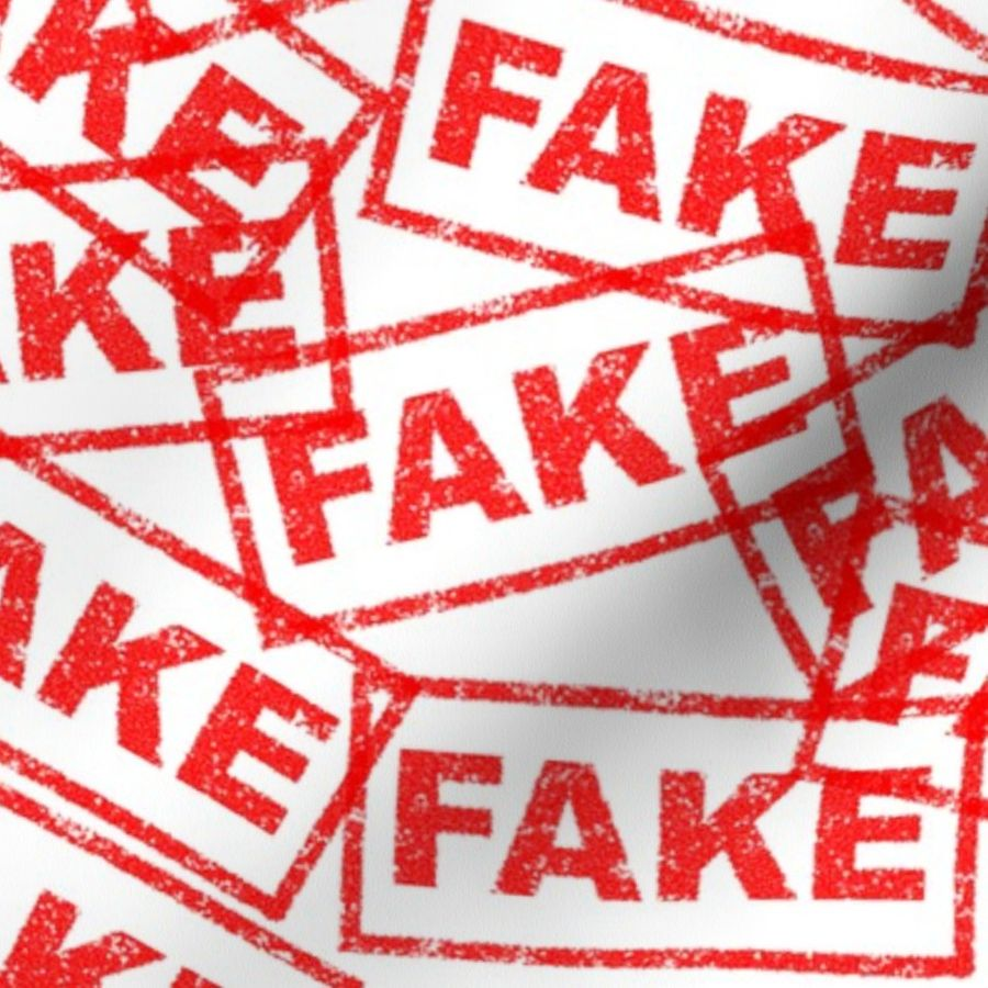 Fabric by the Yard 5 fake news false fraud counterfeit dishonest rubber  stamp red ink pad white background chop grunge distressed words seal pop  art