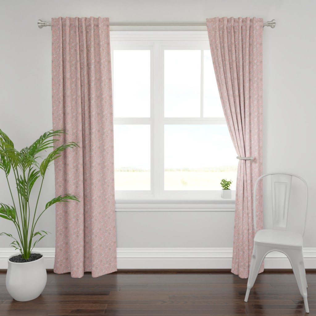 Plymouth Curtain Panel featuring Hand drawn cute pink candy and sweets seamless pattern design by nina_savinova
