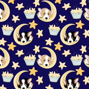 "4"" cute black and tan welsh cardigan corgi sleeping on the moon and stars adorable painted corgis design corgi lovers will adore this lovely fabric"