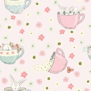 "9"" Spring is all over - Little Bunnies and Cute Florals - baby girls fabric - spring animals flower fabric, baby fabric"
