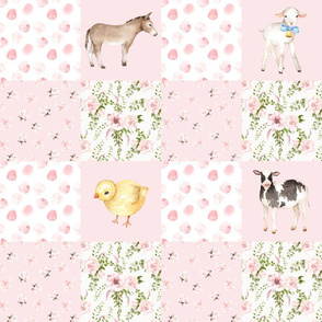 "18"" Spring Florals Mix with Little Animals on Farm on  pink"