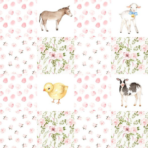 "18"" Cheater quilts, Spring Florals Mix with Little Animals on Farm on  white"