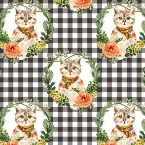 """4"""" Miss Kitty Floral Wreath Brown Gingham"""