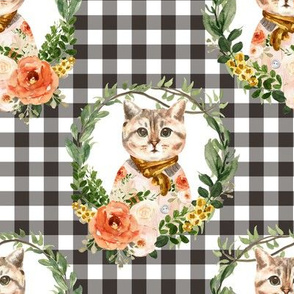 """8"""" Miss Kitty Floral Wreath Brown Gingham"""