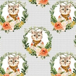 """4"""" Miss Kitty Floral Wreath Brown Polka Dots"""