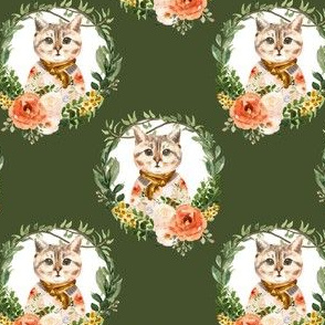 """4"""" Miss Kitty Floral Wreath Olive Back"""