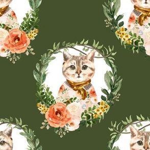 """8"""" Miss Kitty Floral Wreath Olive Back"""