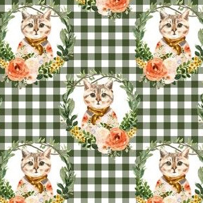 """4"""" Miss Kitty Floral Wreath Olive Gingham"""