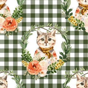 """8"""" Miss Kitty Floral Wreath Olive Gingham"""