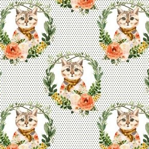 """4"""" Miss Kitty Floral Wreath Olive Polka Dots White Back"""