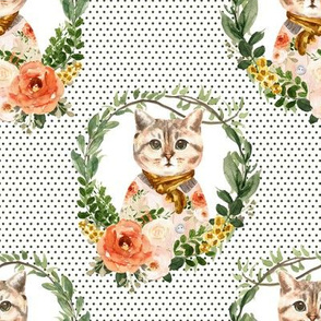"""8"""" Miss Kitty Floral Wreath Olive Polka Dots White Back"""