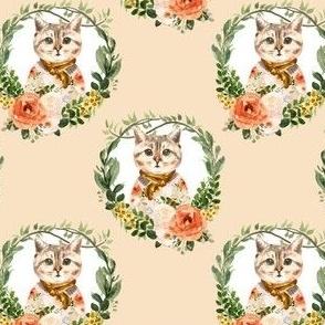 "4"" Miss Kitty Floral Wreath Peach Back"
