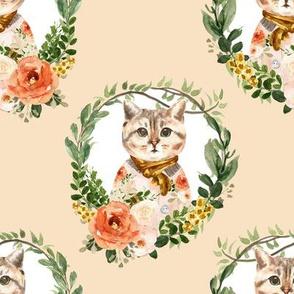 "8"" Miss Kitty Floral Wreath Peach Back"