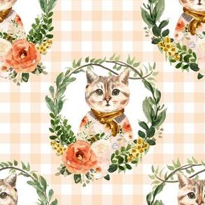 "8"" Miss Kitty Floral Wreath Peach Gingham"
