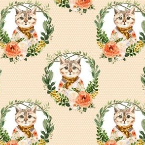 "4"" Miss Kitty Floral Wreath White Polka Dots Peach Back"