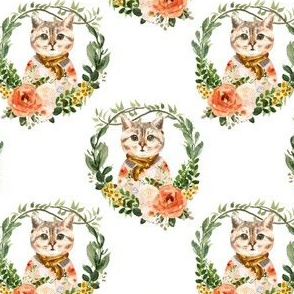 """4"""" Miss Kitty Floral Wreath"""