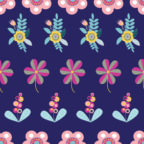 Folk flowers on dark blue
