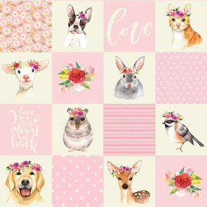 "21"" Animal Flower Garden- flowers and Cute Animals Patchwork - baby girls quilt cheater quilt fabric - spring animals flower fabric, baby fabric, cheater quilt fabric"